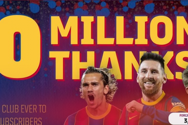 FC Barcelona becomes first sports club in the world to have over 10 million subscribers on YouTube